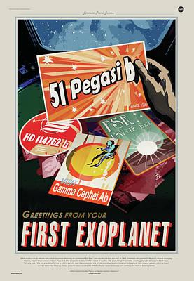 Digital Art - Nasa Pegasi 51 Poster Art Visions Of The Future by Erik Paul