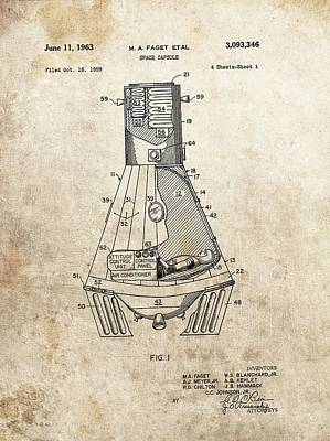 Space Ships Drawing - Nasa Space Capsule Patent by Dan Sproul