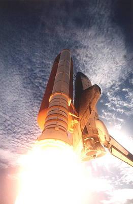 Digital Art - Nasa Space Shuttle Launch Rearview by Erik Paul