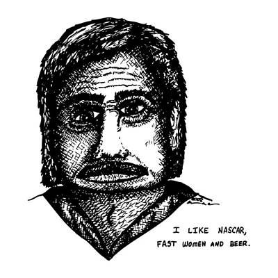 Nascar Comic Art Print by Karl Addison