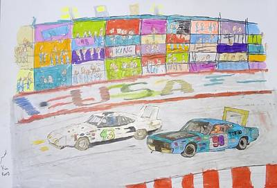 Roadrunner Drawing - Nascar Kids by Mike Kia Poppy