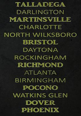Nascar Track List Art Print by Dan Sproul