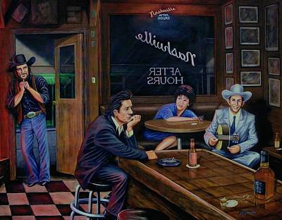 Johnny Cash Painting - Nashville After Hours by Antonio F Branco