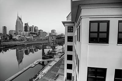 Photograph - Nashville Along The River - Black And White by Gregory Ballos