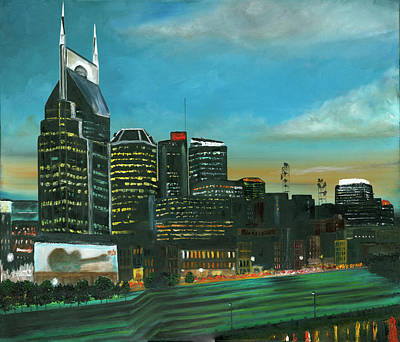 Painting - Nashville At Dusk by Craig A Stevens