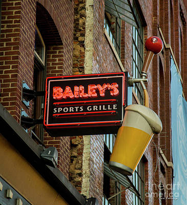 Photograph - Nashville Baileys Sports Grille Sign Nashville Signage Art by Reid Callaway