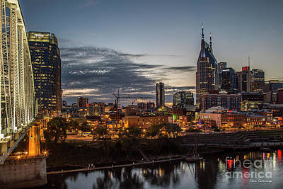 Photograph - Nashville Broadway Street Shelby Street Bridge Downtown Cityscape Art by Reid Callaway