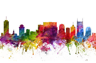 Nashville Skyline Wall Art - Painting - Nashville Cityscape 06 by Aged Pixel