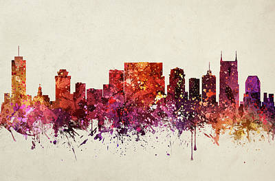 Nashville Skyline Wall Art - Painting - Nashville Cityscape 09 by Aged Pixel