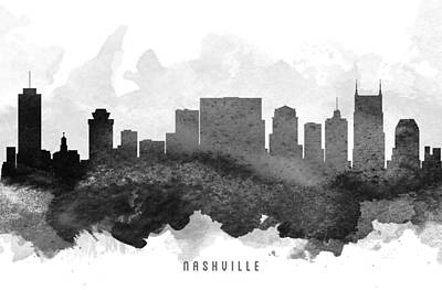 Nashville Skyline Wall Art - Painting - Nashville Cityscape 11 by Aged Pixel