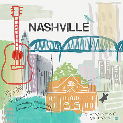 Nashville Cityscape- Art By Linda Woods Art Print by Linda Woods