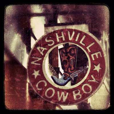 Photograph - Nashville Cowboy Boot Sign by Debra Martz