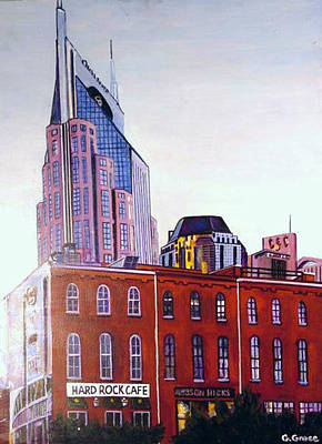 Downtown Nashville Painting - Nashville From River by George Grace