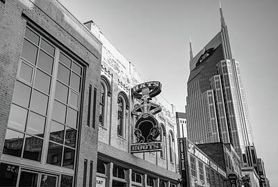 Photograph - Nashville Hats And Boots Cowboy Skyline - Black And White by Gregory Ballos
