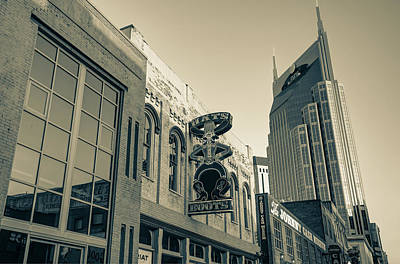 Photograph - Nashville Hats And Boots Cowboy Skyline - Sepia by Gregory Ballos