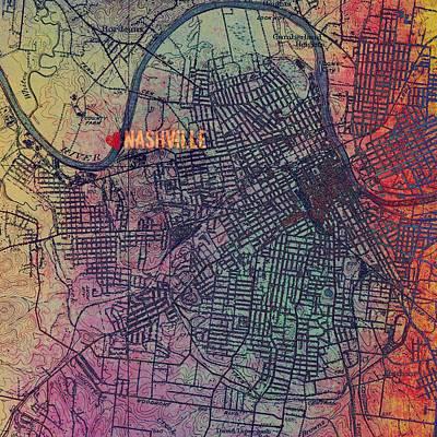 Grid Mixed Media - Nashville Heart Map by Brandi Fitzgerald