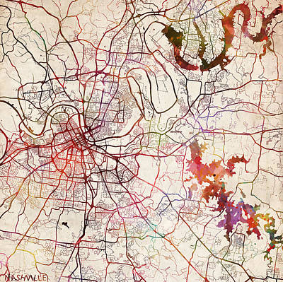 Nashville Tennessee Painting - Nashville Map Painting by Map Map Maps