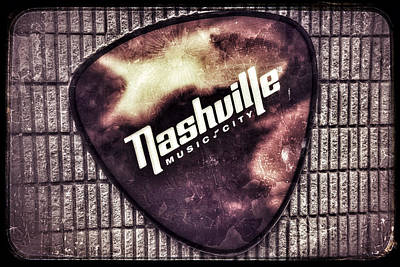 Photograph - Nashville Music City - Guitar Pick by Debra Martz
