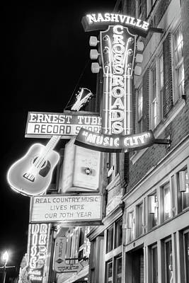 Photograph - Nashville Music City Vintage Neons - Black And White by Gregory Ballos