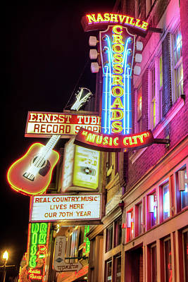 Photograph - Nashville Music City Vintage Neons by Gregory Ballos