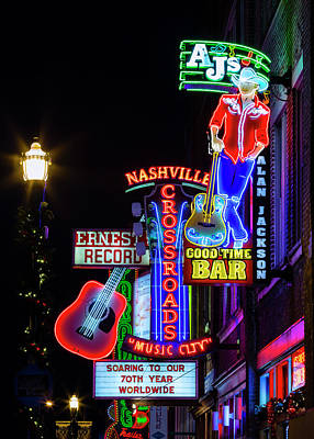 Downtown Nashville Photograph - Nashville Neon Broadway by Stephen Stookey