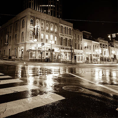 Photograph - Nashville Neons Over Lower Broadway - Sepia by Gregory Ballos