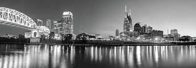 Photograph - Nashville Night Skyline Panorama In Black And White by Gregory Ballos