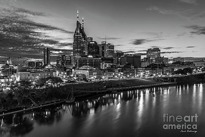 Photograph - Nashville Nite Lights B W Broadway Street Cityscape Art by Reid Callaway