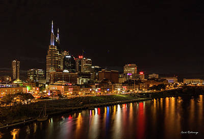 Photograph - Nashville Skyline Nite Lights Broadway Street Cityscape Art by Reid Callaway