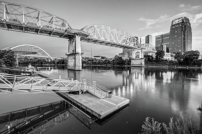 Nashville Tennessee Photograph - Nashville Pedestrian And Gateway Bridge At Dusk - Black And White by Gregory Ballos