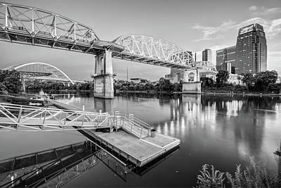 Downtown Nashville Photograph - Nashville Pedestrian And Gateway Bridge At Dusk - Black And White by Gregory Ballos