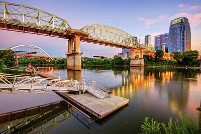 Photograph - Nashville Pedestrian And Gateway Bridge At Dusk by Gregory Ballos