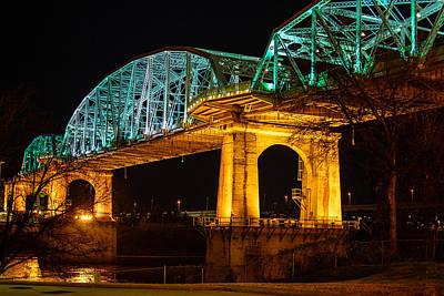 Framed Downtown Nashville Photograph - Nashville Pedestrian Bridge by Jim Diamond