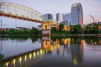 Photograph - Nashville Pedestrian Bridge Reflections by Gregory Ballos