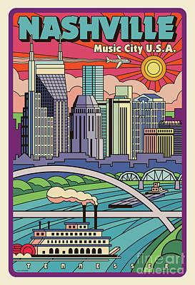 Digital Art - Nashville Pop Art Travel Poster by Jim Zahniser