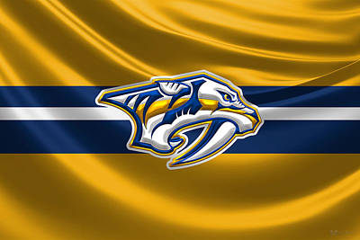 Sports Digital Art - Nashville Predators - 3 D Badge Over Silk Flag by Serge Averbukh