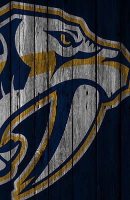 Nashville Predators Wood Fence Art Print