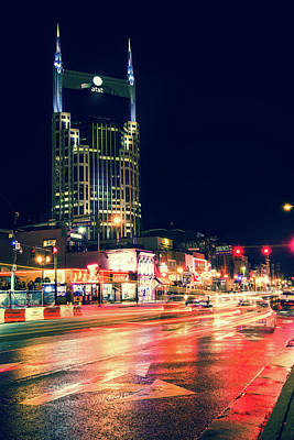 Photograph - Nashville Skyline Along Lower Broadway In The Music City by Gregory Ballos