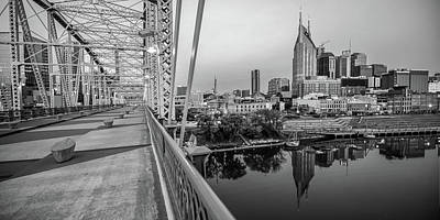 Photograph - Nashville Skyline And Pedestrian Bridge Panorama Black And White by Gregory Ballos