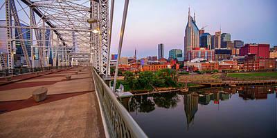 Photograph - Nashville Skyline And Pedestrian Bridge Panorama by Gregory Ballos