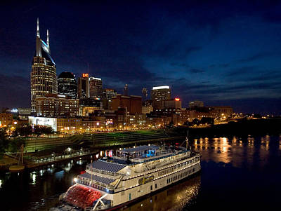 Nashville Skyline Photograph - Nashville Skyline And Riverboat by Mark Currier