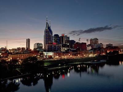 Nashville Skyline And The Cumberland Art Print by Everett