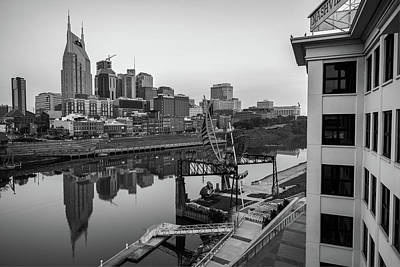 Photograph - Nashville Skyline At Dawn In Black And White by Gregory Ballos
