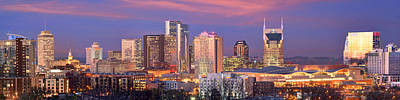 Photograph - Nashville Skyline At Dusk 2018 1 To 4 Ratio Panorama Color by Jon Holiday