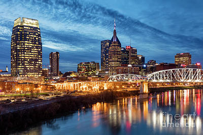 Photograph - Nashville Skyline At Dusk by Brian Jannsen
