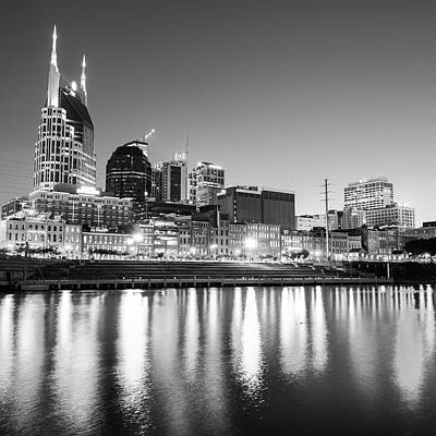Photograph - Nashville Skyline At Dusk In Black And White - Square by Gregory Ballos