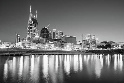 Photograph - Nashville Skyline At Night On The Cumberland River Black And White by Gregory Ballos
