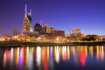 Photograph - Nashville Skyline At Night On The Cumberland River by Gregory Ballos