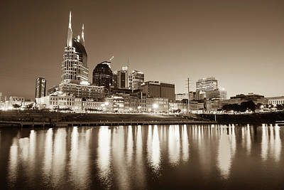 Nashville Photograph - Nashville Skyline At Night On The Cumberland River Sepia by Gregory Ballos