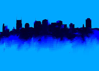 Ben Affleck Wall Art - Drawing - Nashville  Skyline Blue  by Enki Art